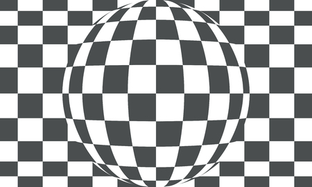 Checkered black and white abstract wavy background.