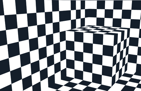 Checkered black and white abstract wavy background Illustration