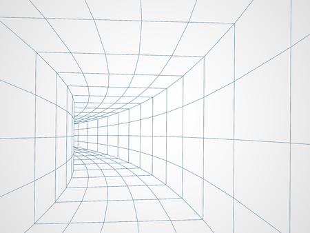 Digital 3d wire frame tunnel vector abstract background. Vettoriali