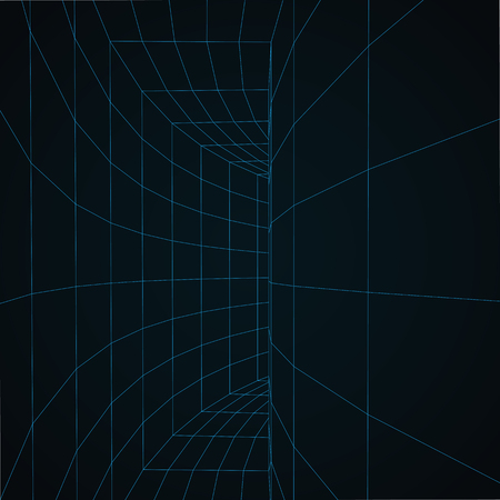Digital 3d wire frame tunnel vector abstract background. Illustration