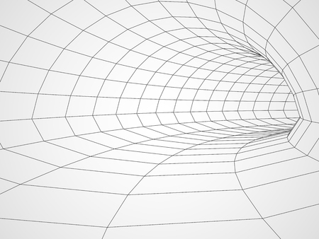 Digital 3d wire frame tunnel vector abstract background. Çizim