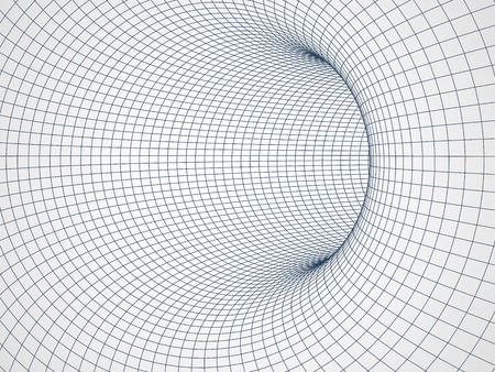 Digital 3d wire frame tunnel vector abstract background. Vector Illustration