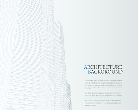 Perspective 3d architecture background with wire frame skyscrapers vector illustration.
