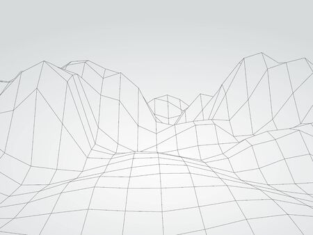Digital landscape. Abstract vector wireframe background. 3d technology illustration for presentations and polygraphy products