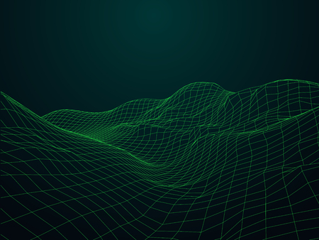 Terrain with connected lines and dots. Vector illustration.
