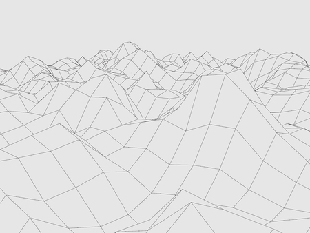 Wireframe polygonal landscape, Terrain with connected lines and dots.