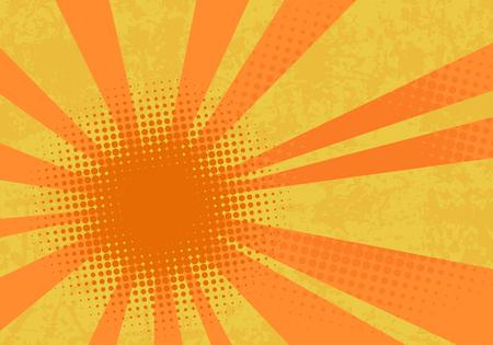 Retro explosie achtergrond. Popart vectorillustratie met stippen en stralen. Stockfoto - 97717692
