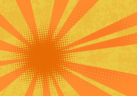Retro explosion background. Pop art vector illustration with dots and rays.