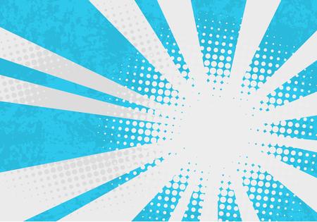 Sfondo esplosione retrò. Illustrazione vettoriale di pop art con punti e raggi.