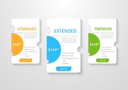 Web pricing table design for business  Vector illustration.