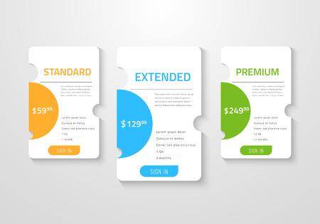 Projekt tabeli cen sieci Web dla biznesu ilustracji wektorowych.