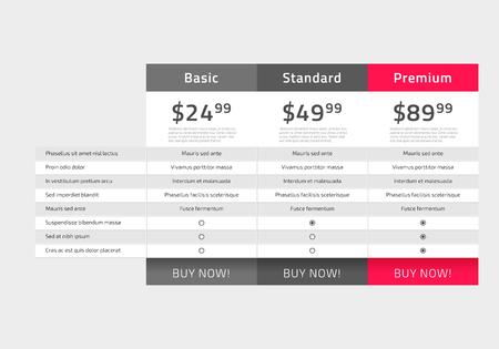 Projekt tabeli cen sieci Web dla biznesu. Ilustracja wektorowa