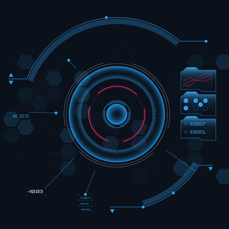 Digital futuristic user interface, HUD for app and web. Abstract vector illustration futuristic concept.