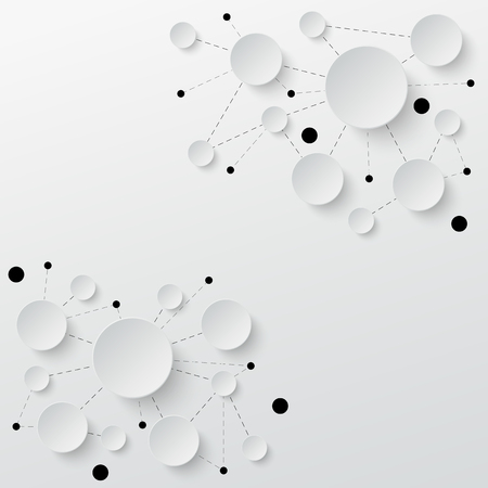 Technology background. Paper cut circles with shadows and lines. Vector illustration.  イラスト・ベクター素材