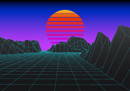 Retro background. 1980;s style digital wireframe landscape with moon. Illustration