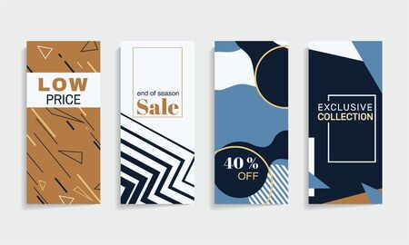 Minimalistic geometric background. Futuristic vector banners with organic shapes.