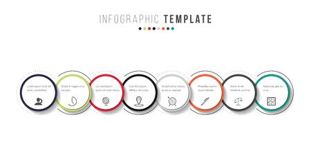 Business infographics timeline design template with icons and 8 steps. Can be used for workflow layout, diagram, annual report, web design Illustration