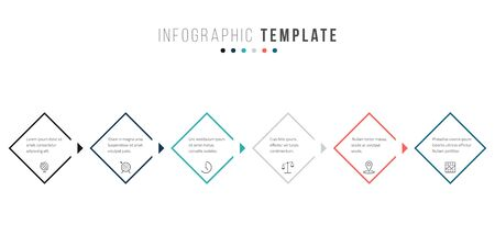 Business infographics timeline design template with icons and 6 steps. Can be used for workflow layout, diagram, annual report, web design 일러스트