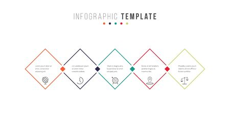 Business infographics timeline design template with icons and 5 steps. Can be used for workflow layout, diagram, annual report, web design Illustration