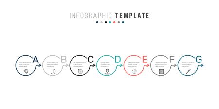 Business infographics timeline design template with icons and 7 steps. Can be used for workflow layout, diagram, annual report, web design