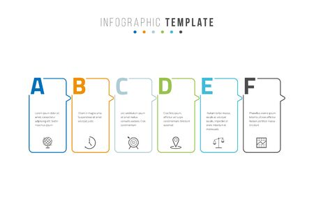 Business infographics timeline design template with icons and 6 steps. Can be used for workflow layout, diagram, annual report, web design Illustration