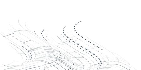 Abstract 3d futuristic illustration. White background with lines and small elements. Modern technology eps 10 vector. 일러스트