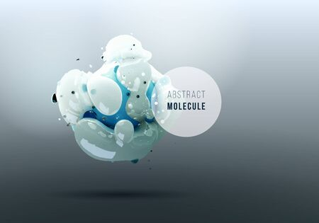 Abstract background with realistic 3D molecule. Organic vector structure Illustration