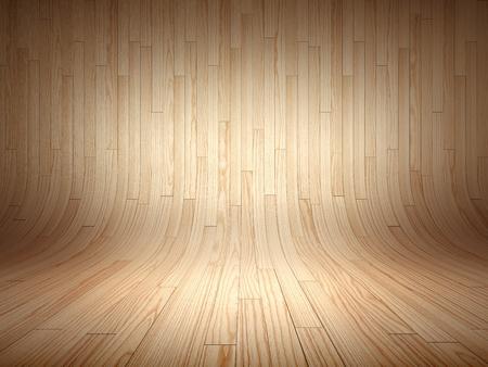 Bended wood wall made of curved planks Фото со стока