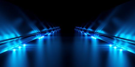 Passage with black background and blue illumination