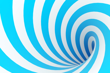 Curved blue stripes tunnel