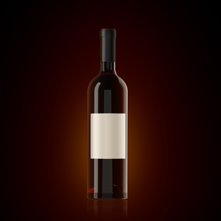 Bottle of red wine with a label on a dark background