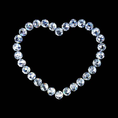 Diamonds shaped as heart on a dark background Фото со стока
