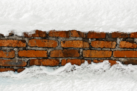 Brick wall in the snow
