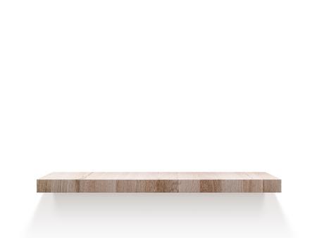 Empty wood shelf on wall Фото со стока