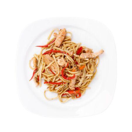 Noodles with chicken Фото со стока