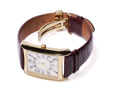 wristlet: Golden Wristlet Watch isolated on the white