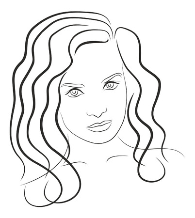 human face: Black and white drawing young womans face 6