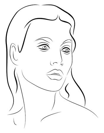 Faccia giovane donna 2 di disegno in bianco e nero