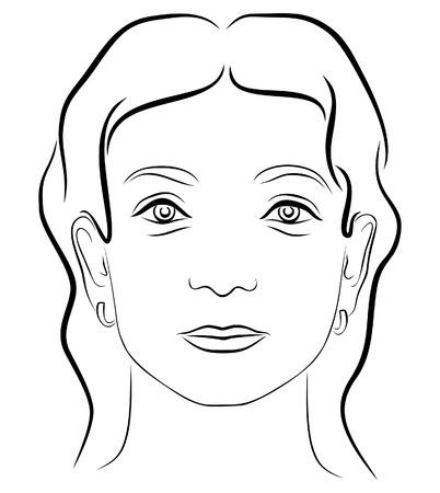 oeil dessin: Noir et blanc, dessin visage de jeune femme 3 Illustration