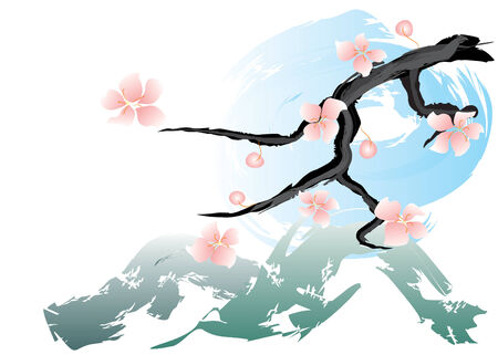 has: Pink spring flowers, green hills and blue sky Illustration