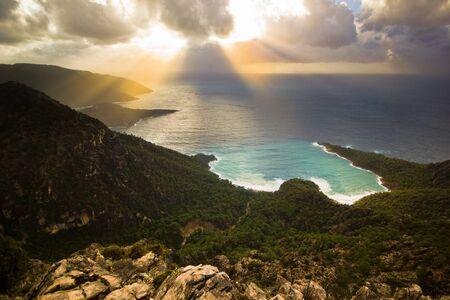 mediterranean forest: sunset above the Mediterranean Sea with forest in turkey