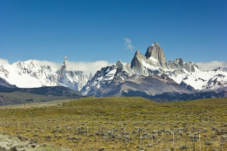 chalten: scenic view on mountain Fitz Roy in Argentina Patagonia on the road to Chalten