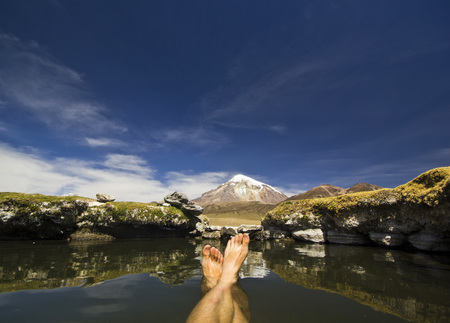 sajama: foots in hot springs near snow-covered volcano Sajama in Bolivia with bushes of grass