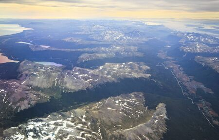 tierra del fuego: aerial view from airplane of mountains and valleys above Ushuaya in Fireland, Tierra del fuego