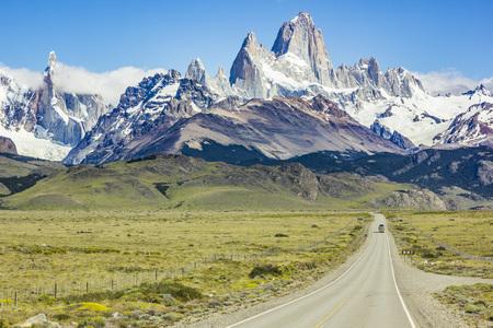 asphalt road under mountain Fitz Roy in Patagonia