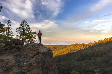 man standing on rock at sunrise with forest below