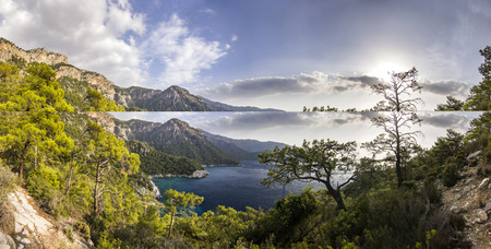 panorama of mountains near mediterranean sea