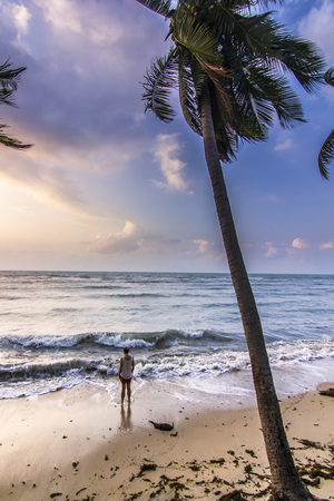 girl standing near seashore with palm at sunrise