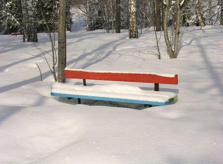 novosibirsk: Bench  under the snow. Russia.  Novosibirsk