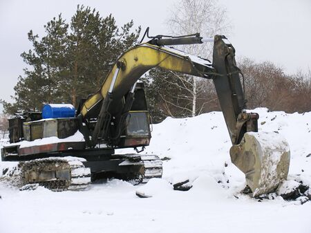dragline: Old excavator Stock Photo
